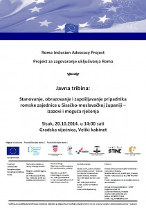 Javna tribina - Stanovanje, obrazovanje i zapošljavanje pripadnika romske zajednice u SMŽ - izazovi i moguća rješenja